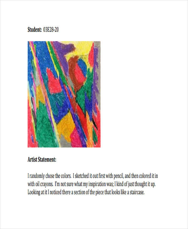 10+ Artist Statement Examples  Samples - PDF Examples