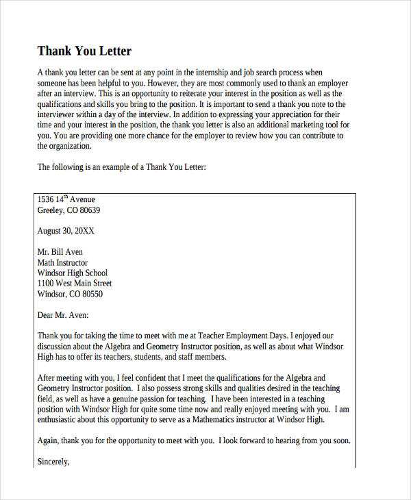 69+ Thank-You Letter Examples - Thank You Letter Appreciation