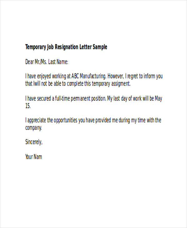 49+ Resignation Letter Examples - resignation letters samples