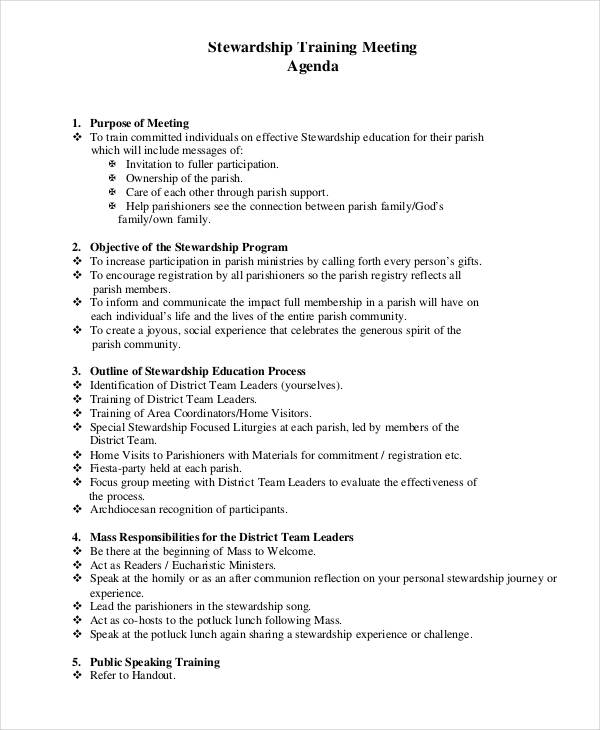 23+ Training Agenda Examples  Samples - Meeting Outline Sample