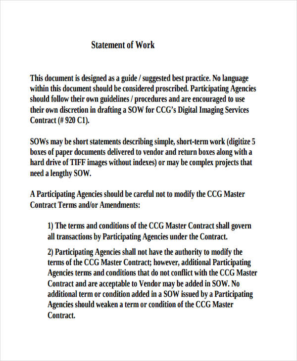29+ Statement of Work Examples  Samples - simple contract examples