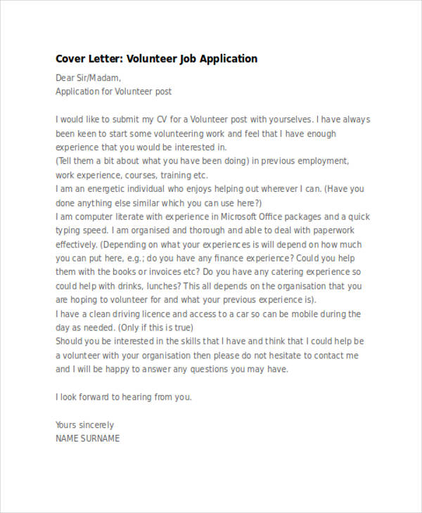 46+ Application Letter Examples  Samples - PDF, DOC - what to write in a cover letter for a job