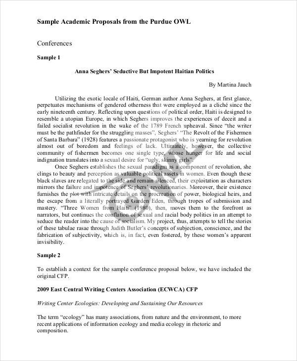 7+ Conference Proposal Examples  Samples - academic proposal template