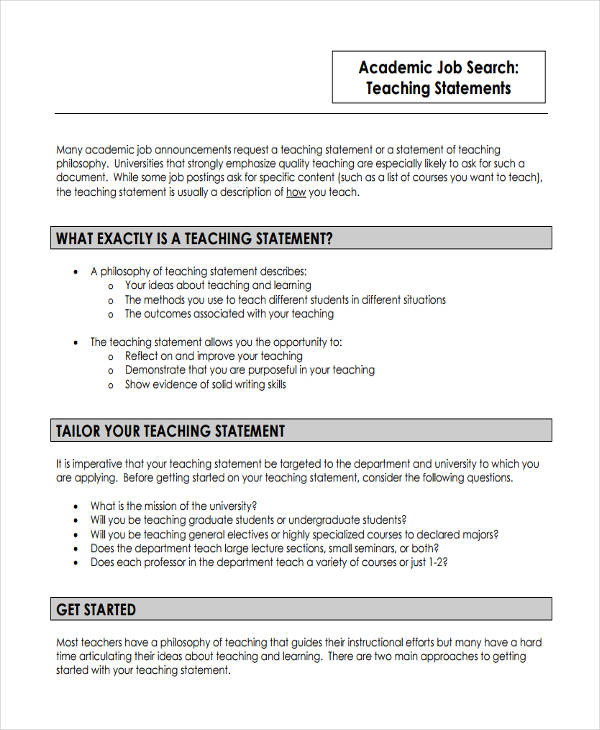 9+ Teaching Statement Examples  Samples Examples