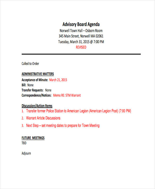 9+ Board Agenda Examples, Samples