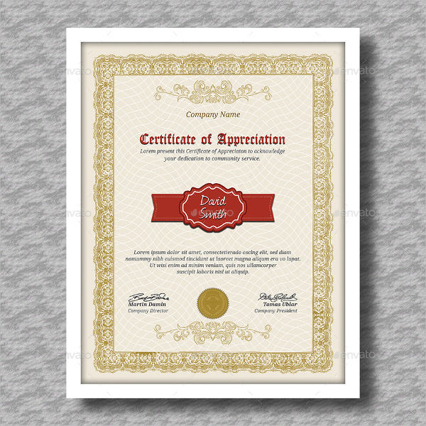 8+ Certificate of Appreciation Examples  Samples