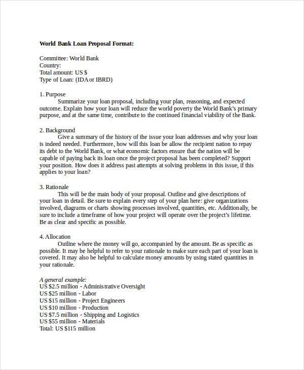 9+ Loan Proposal Examples - PDF - Bank Loan Proposal Sample