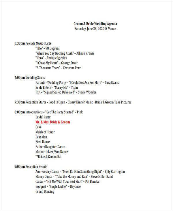 17+ Party Agenda Examples - event agenda sample