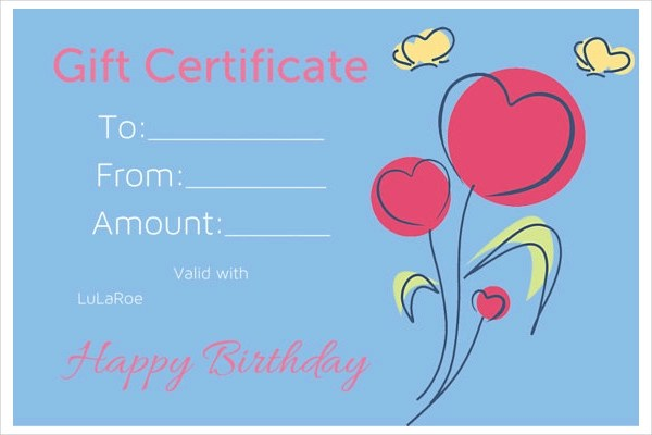 8+ Gift Certificate Examples  Samples - birthday gift certificate