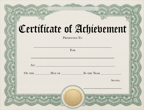 7+ Achievement Certificates Examples  Samples - blank achievement certificates