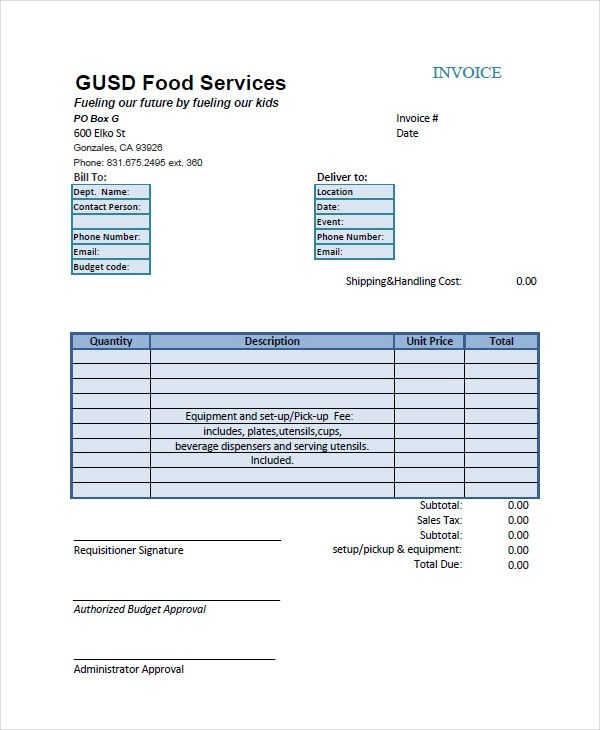 6+ Catering Invoice Example  Samples - catering invoice example