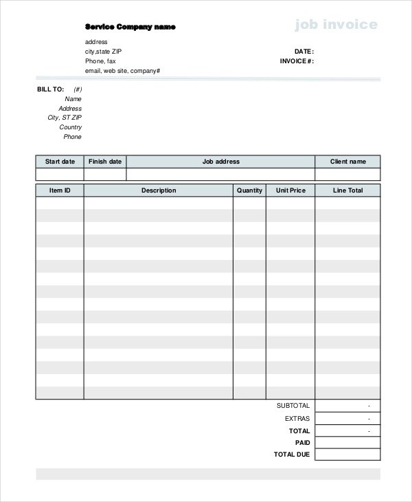 10+ Job Invoice Examples  Samples Examples