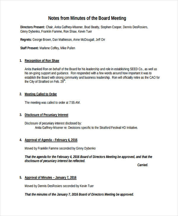 7+ Meeting Note Examples  Samples Examples