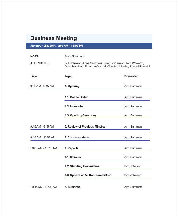 31+ Agenda Examples and Templates - example of agenda for a meeting