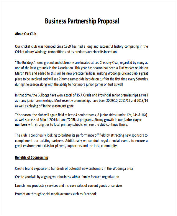 4+ Partnership Proposal Examples  Samples - sample partnership proposal template