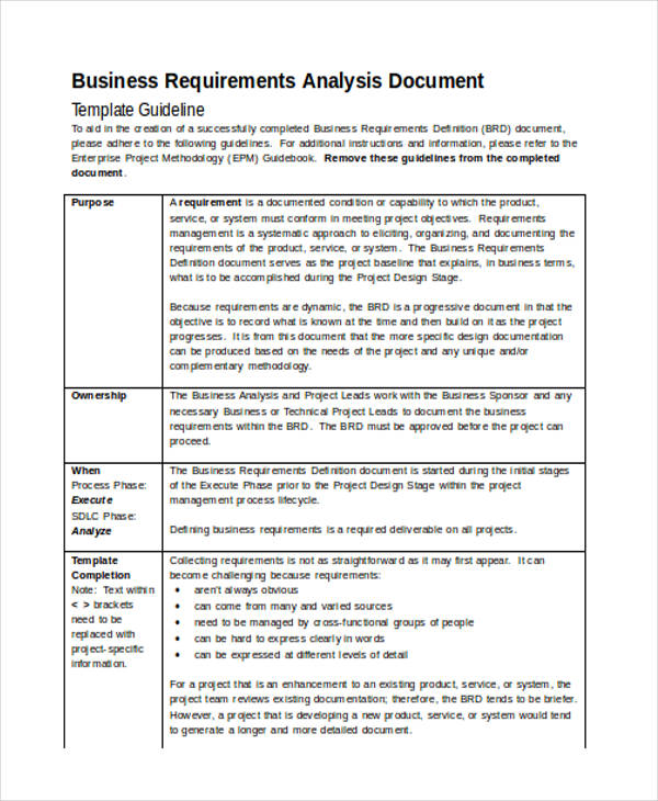 49+ Analysis Examples  Samples in Word - requirement analysis template