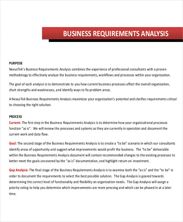 7+ Requirements Analysis Examples \ Samples - sample requirement analysis