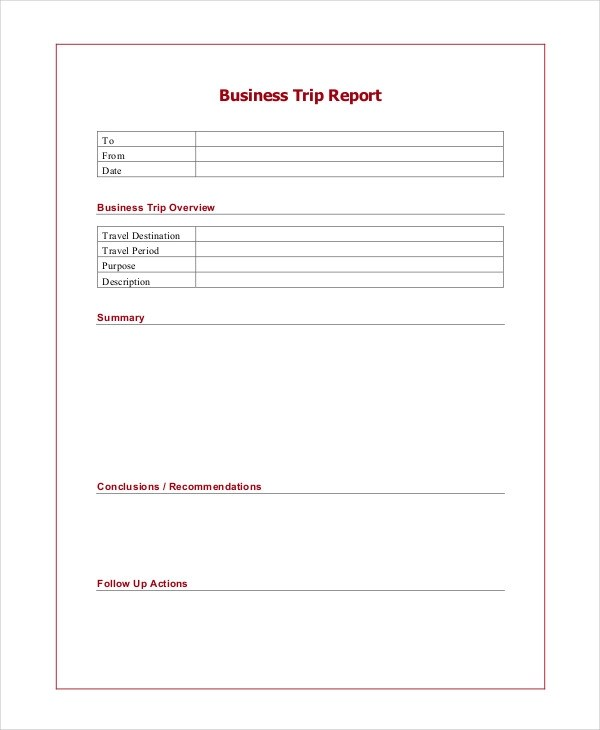 6+ Trip Report Examples, Samples - business reporting templates