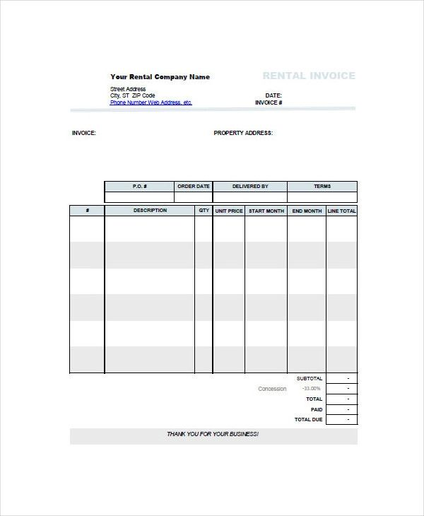 rental property invoice template