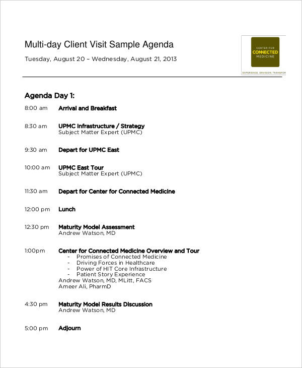 5+ Visit Agenda Examples, Samples - how to write an agenda template