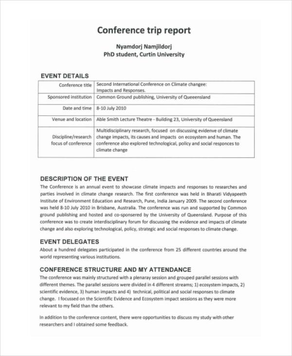 6+ Trip Report Examples, Samples - trip report template example