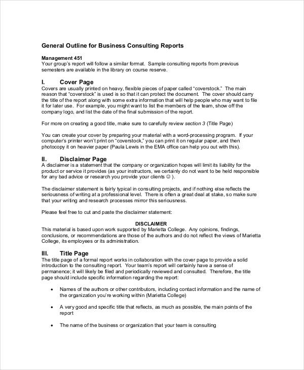 9+ Consulting Report Examples - PDF - consulting report
