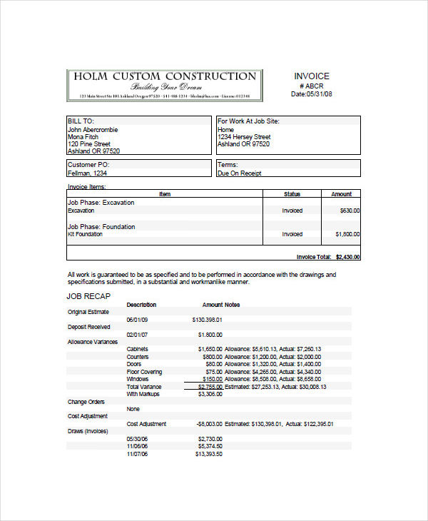 10+ Construction Invoice Examples  Samples - how to type up an invoice
