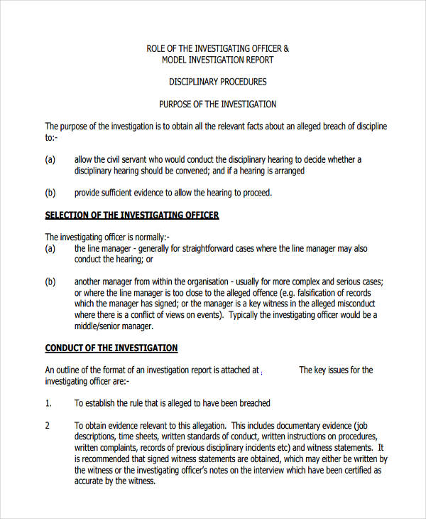 9+ Investigation Report Examples, Samples - disciplinary memo template