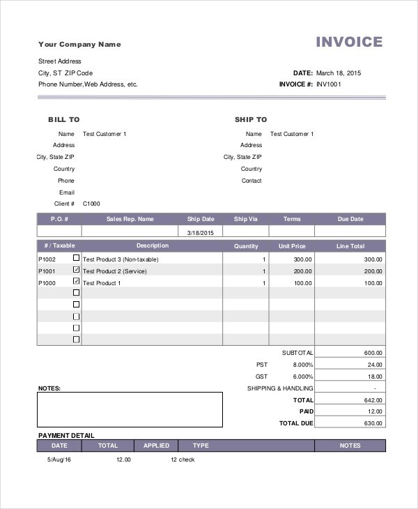 4+ Payment Invoice Examples  Samples - samples of invoices for payment