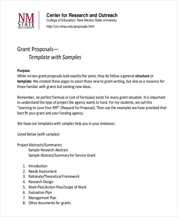 5+ Grant Proposal Examples  Samples - funding proposal template