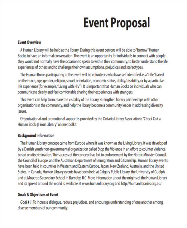 event proposal format - Minimfagency - event proposals samples