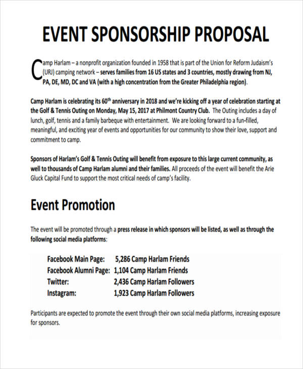7+ Sponsorship Proposal Examples  Samples - sponsorship proposal template