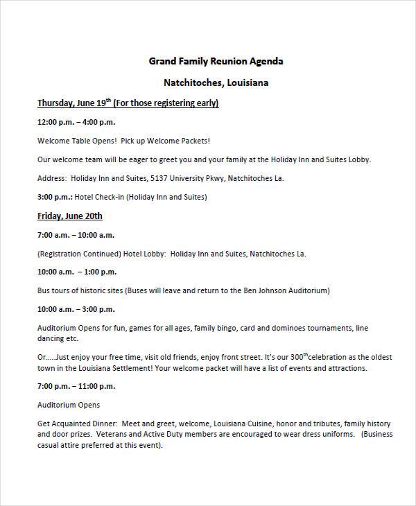 7+ Reunion Agenda Examples, Samples - family agenda