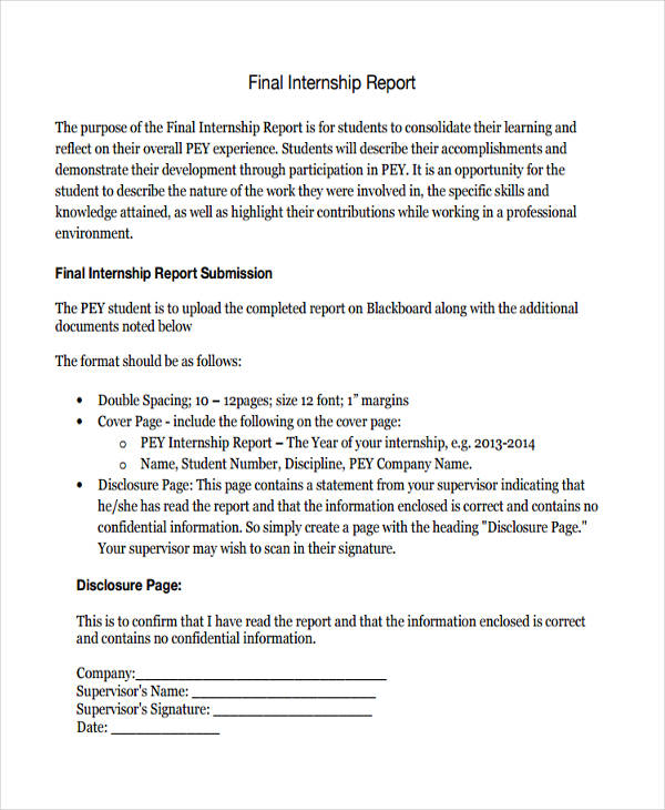 9+ Internship Report Examples  Samples - PDF