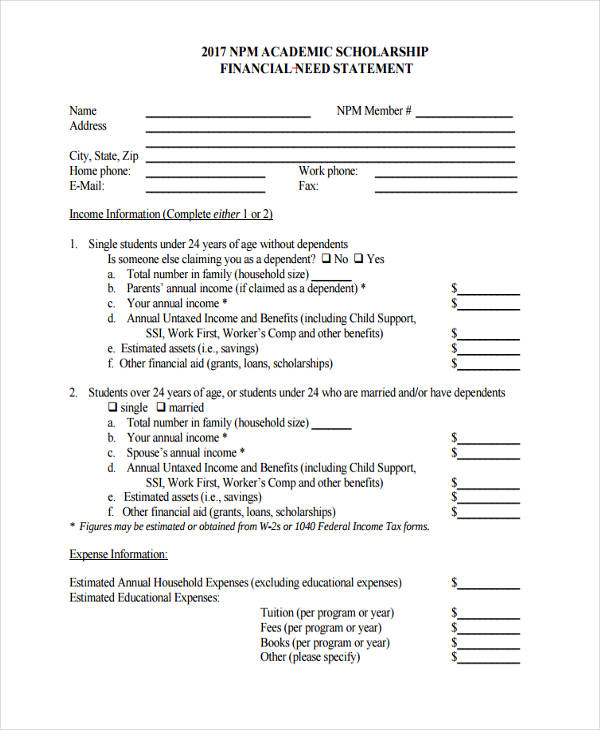 13+ Examples of Need Statements - Scholarship Contract Template