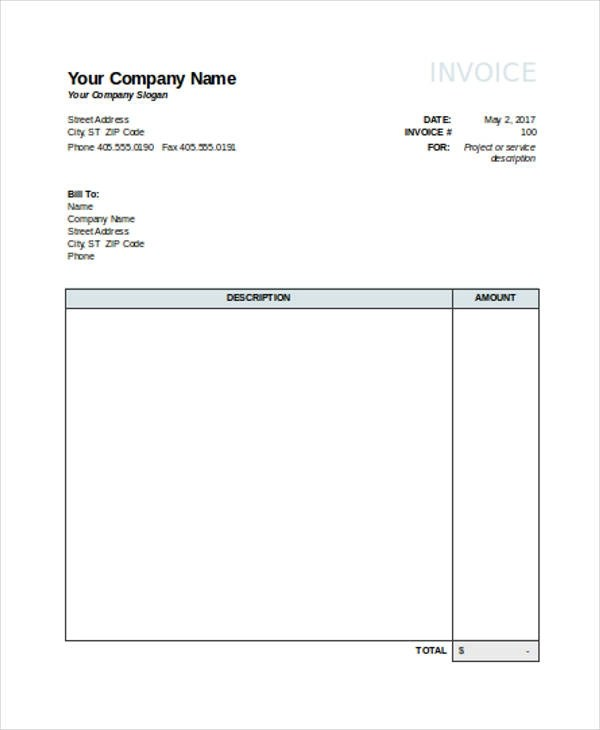 22+ Invoice Examples  Samples in Excel - free excel invoice