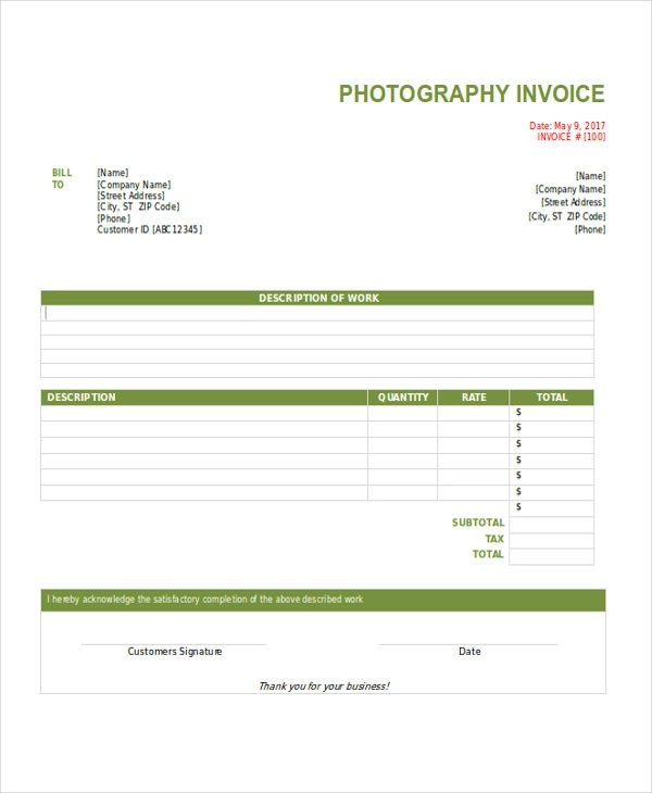 8+ Photography Invoice Examples  Samples - invoice template for photographers