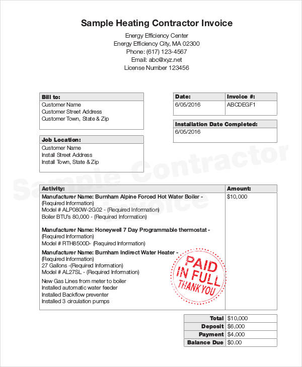 27+ Free Invoice Examples  Samples - general contractor invoice