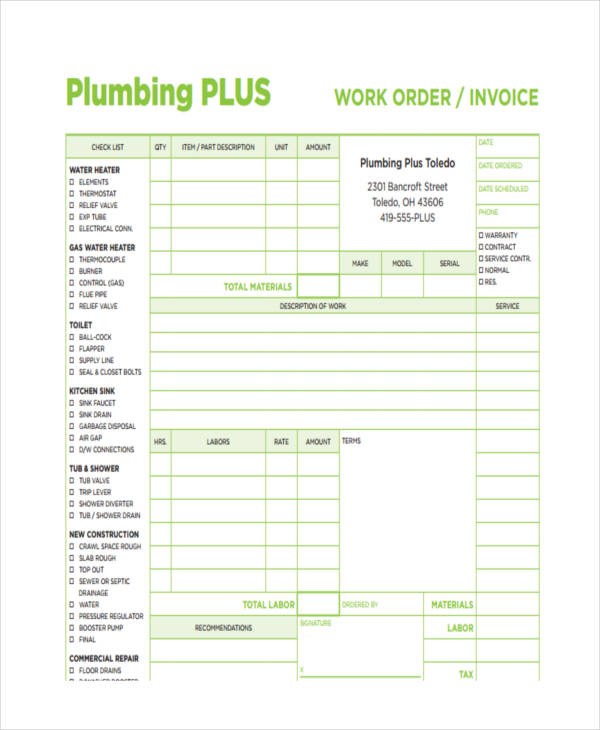 7+ Plumbing Invoice Examples  Samples - plumbing invoice template