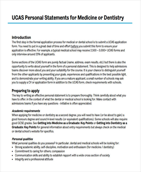 dentistry personal statements examples