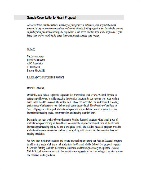 sample cover letter for grant proposal