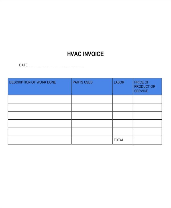 5+ HVAC Invoice Examples  Samples