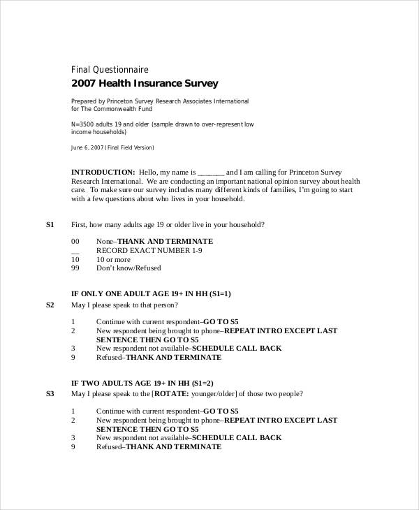 29+ Survey Questionnaire Examples - PDF - health survey template