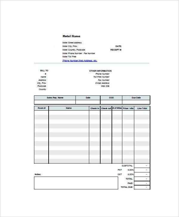 13+ Hotel Invoice Examples  Samples