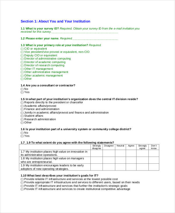 questionnaire sample  scale question step 2 likert sample