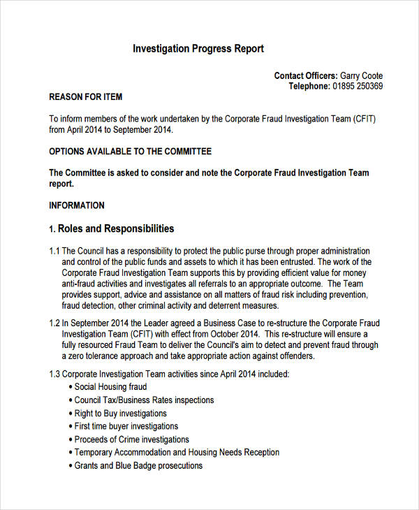 14+ Investigation Report Samples and Examples - PDF, Google Docs