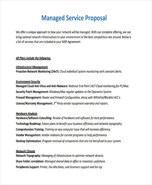 11+ Service Proposal Examples, Samples - It Services Proposal Template