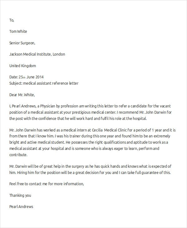 Unique reference letter for a medical assistant student adornment medical assistant recommendation letter kicksneakers spiritdancerdesigns Image collections