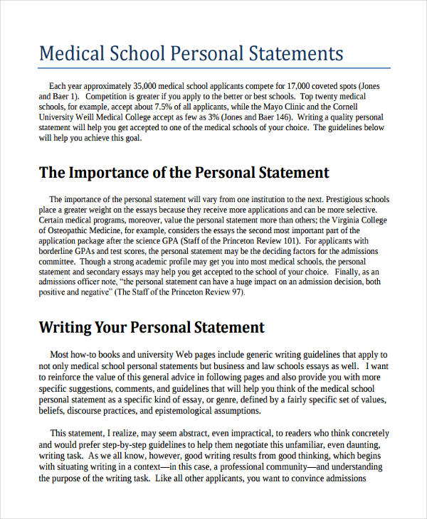 Medical School Personal Statement Help \u2015 The Med School Personal
