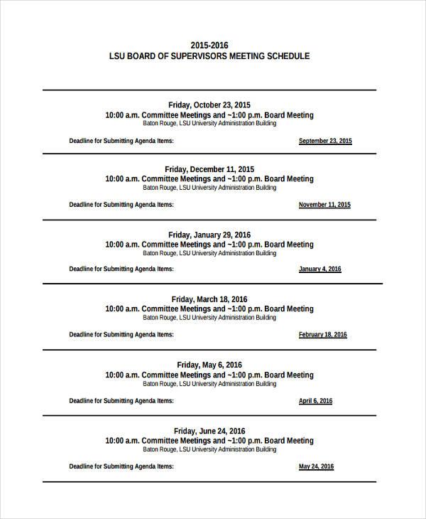 4+ Agenda Calendar Examples, Samples - sample agenda calendar